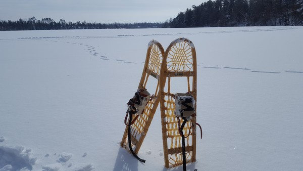 Snow shoeing in Danbury, WI