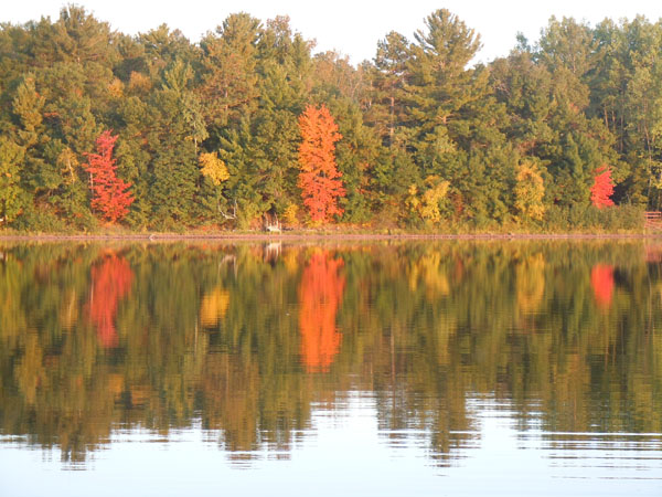 Fall foliage reflecting onto Wisconsin lake