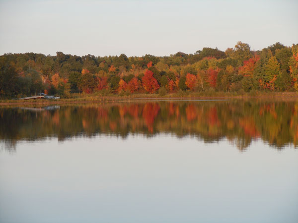 Red orange and green fall trees reflecting on lake