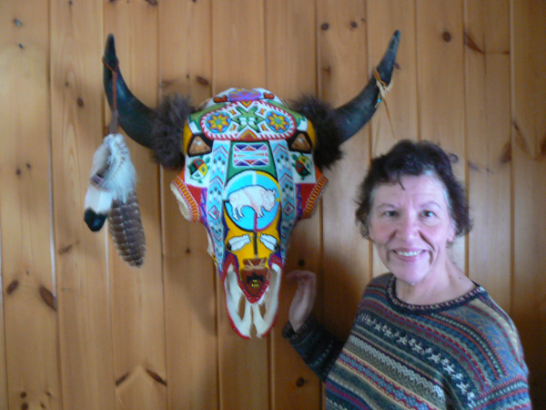 Woman with Beaded Buffalo Head