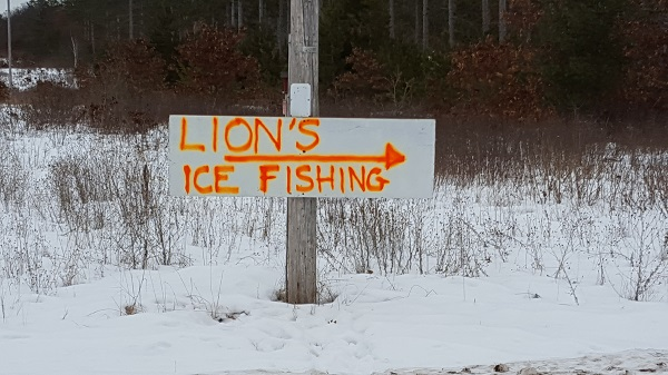ice fishing sign