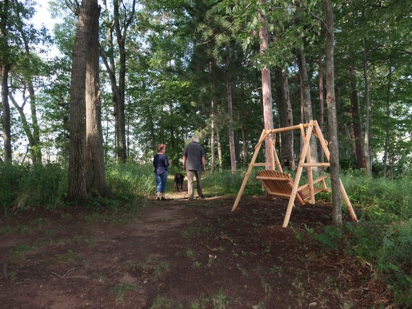 The Millers walking their dog on their property with a swing