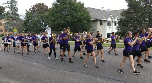 Grantsburg marching band summer parade