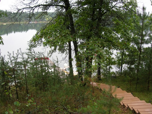 Stairs down hill to lake and pontoon at the bottom