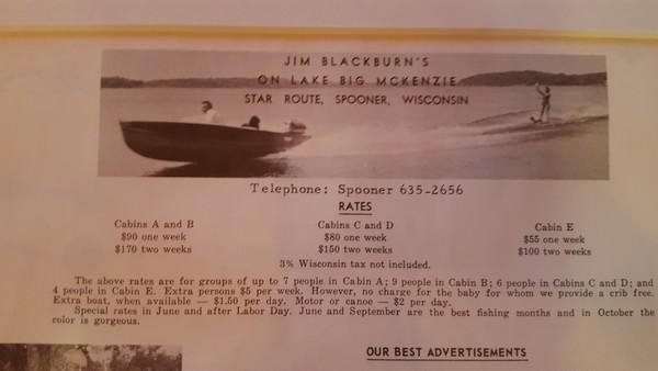 Rental Information for the Blackburn Resort on Big McKenzie Lake